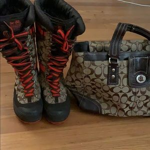 Coach purse and boots